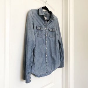 J. Crew Perfect Shirt Chambray W/ Roll-up Sleeves